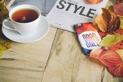 Morning, Tea, Hot, Drink, Magazine, Newspaper, Reading