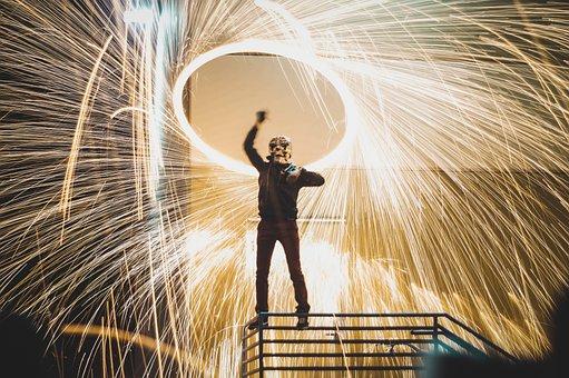 Spark, Lights, People, Man, Mask, Steel