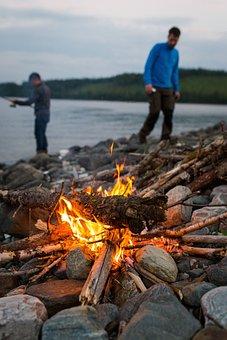 Sea, Ocean, Water, Coast, Rock, Bonfire, Flame, Light