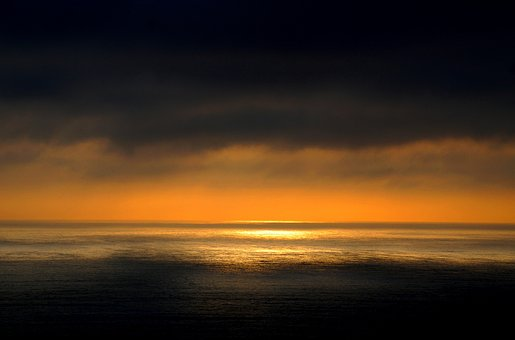 Sea, Ocean, Water, Dark, Orange, Sky, Clouds, Sunset