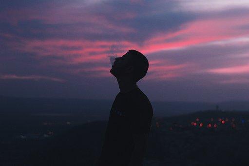 People, Man, Guy, Smoking, Smoke, Silhouette, Dark