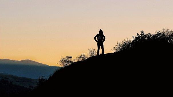 People, Man, Alone, Silhouette, Sky, Sunrise, Sunset