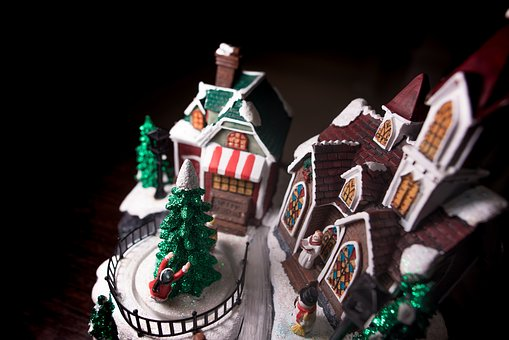 Gingerbread, House, Toy, Display, Christmas, Tree