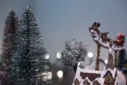 Christmas, Tree, House, Winter, Snow, Toy, Display