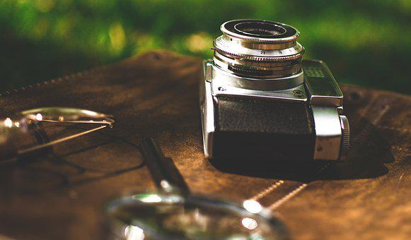 Magnifying Glass, Glasses, Camera, Old Camera, Retro