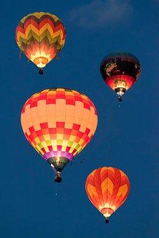 Hot, Air, Balloon, Blue, Sky, Light People, Men