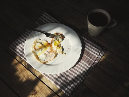 Table, Cloth, Plate, Fried, Egg, Coffee, Cup