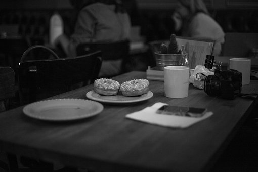 Black And White, Table, Chairs, Plate, Cup, Doughnuts