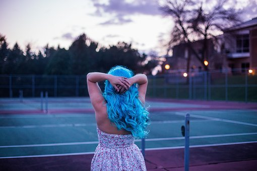 People, Blue, Hair, Girl, Tennis, Court, Tree, House