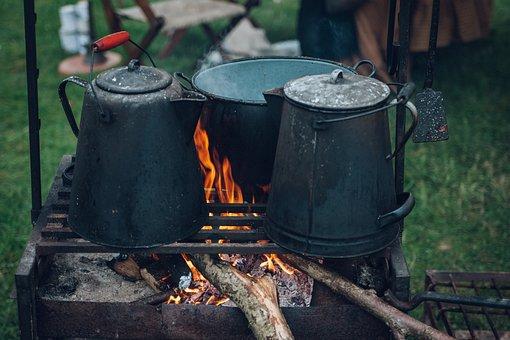 Fire, Flame, Kettle, Steel, Firewood, Food, Field