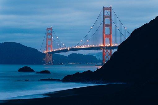 Landmark, Bridge, Structure, Lights, Dark, Night, Hill