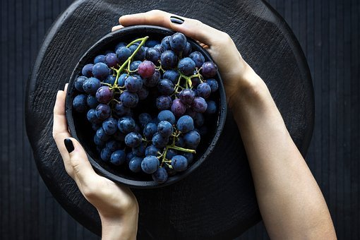 Hand, Arm, People, Girl, Bowl, Grape, Fruit, Food