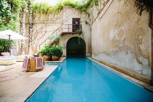 Swimming, Pool, Blue, Water, Wall, Room, Stair