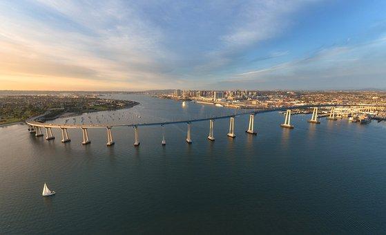 Bridge, Building, Infrastructure, Aerial, View, City