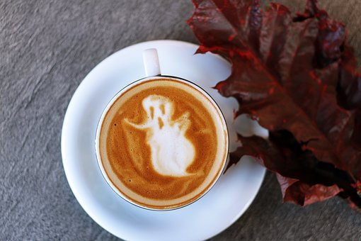 Cup, Saucer, Coffee, Art, Latte, Froth, Halloween, Leaf