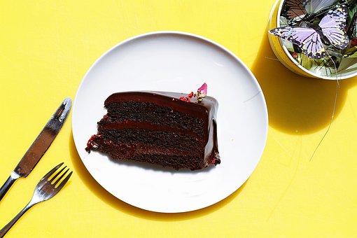 Fork, Bread, Knife, Plate, Chocolate, Cake, Food