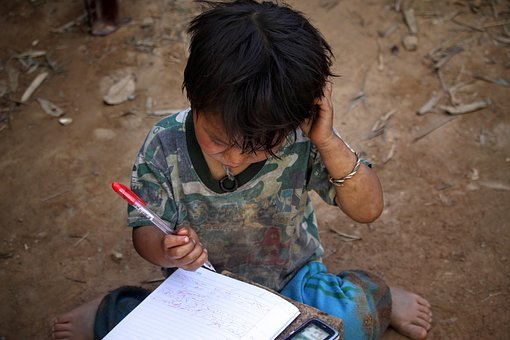 Kid, Boy, Child, Pen, Notebook, Writing, Poor, Poverty