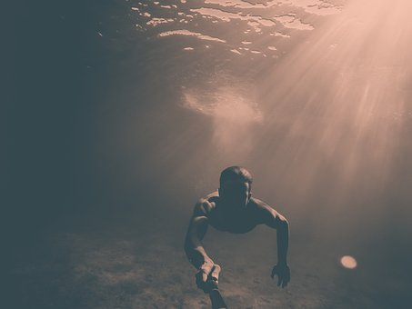 People, Man, Swimming, Sea, Water, Ocean, Diving, Light