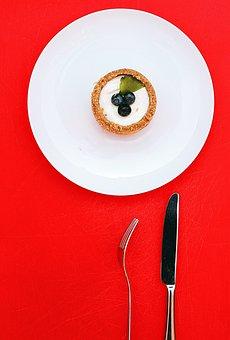 Fork, Bread, Knife, Plate, Fruit, Tart, Cupcake