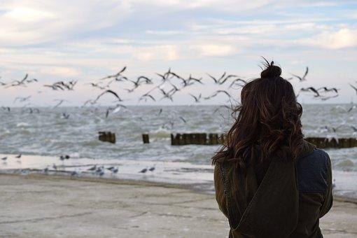 People, Girl, Alone, Beach, Nature, Sea, Water, Ocean
