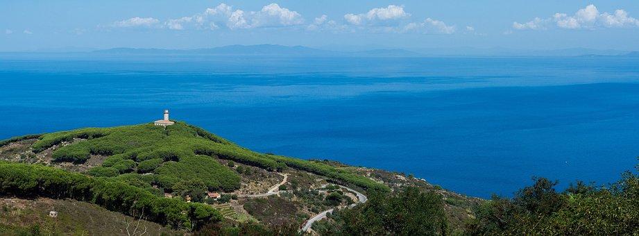 Blue, Sea, Ocean, Water, Sky, Clouds, Green, Trees