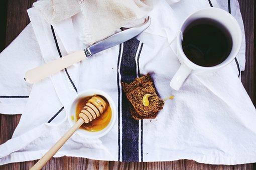 Loaf, Bread, Knife, Tea, Cup, Table, Napkin, Cloth