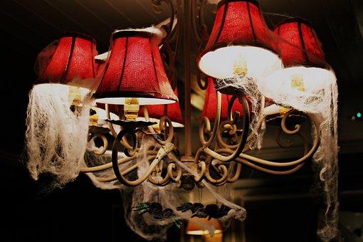 Dark, Chandelier, Lights, Lamp, Bulb, Spider, Web