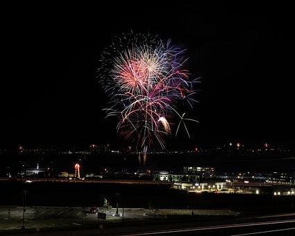 Dark, Night, City, Fireworks, Celebration, Party