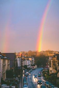 Sky, Rainbow, Sunset, City, Building, Lights, Street