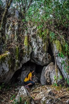 People, Woman, Cave, Rocks, Trees, Plant, Forest