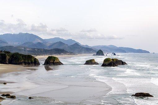 Mountain, Valley, Landscape, View, Beach, Coast, Shore