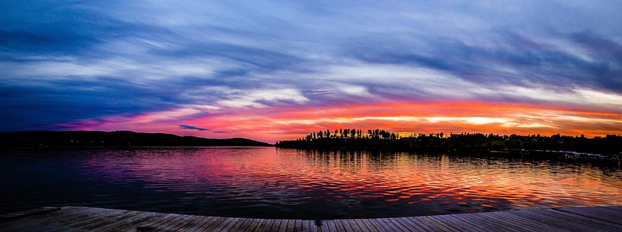 Dark, Sunset, Blue, Orange, Sky, Reflection, Trees