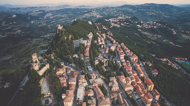 Aerial, View, Building, Structure, Houses, Village