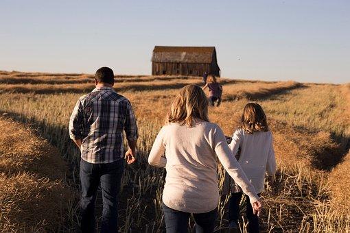 Sky, House, Hut, Grass, Field, People, Walking, Family