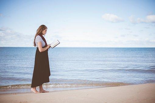 People, Girl, Beauty, Alone, Reading, Book, Bible, Sea