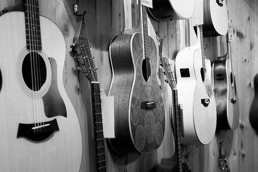 Wall, Display, Black And White, Guitar, String, Shop