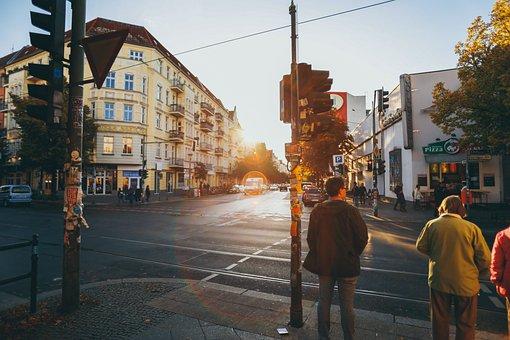 Building, City, Street, Road, Traffic, Light
