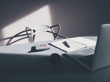 Chair, Notebook, Calculator, Pen, Write, Laptop