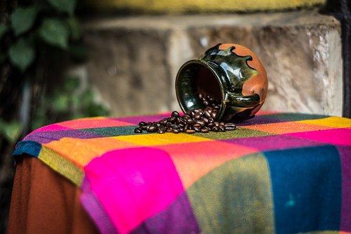 Table, Setup, Cloth, Ceramic, Cup, Mug, Coffee Bean