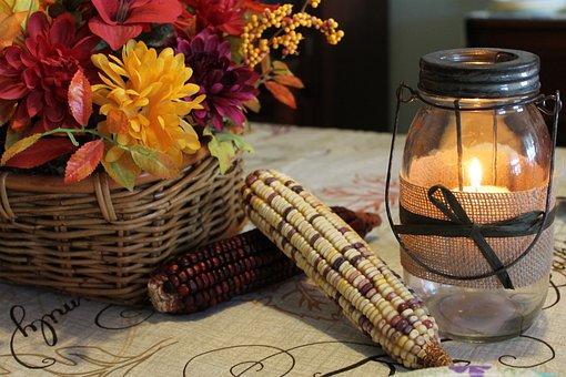 Corn, Flowers, Colorful, Petals, Leaves, Autumn, Glass