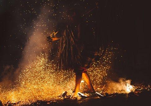 Dark, People, Man, Costume, Props, Fire, Flame, Dance