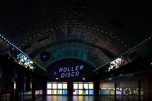 Dark, Inside, Gym, Roller, Disco, Building, Mirror