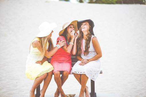 People, Girls, Happy, Laugh, Smile, Friends, Dress, Hat