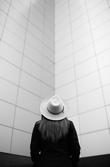 Black And White, People, Girl, Hat, Alone