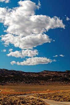 Road, Desert, Landscape, California, Usa, Mountains