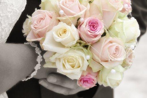 Wedding, Bride And Groom, Bride, Bridal Bouquet, Love