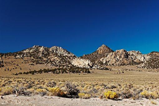 Desert, Landscape, California, Usa, Mountains, Blue