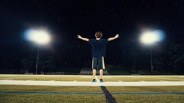 Man, People, Guy, Alone, Court, Field, Spotlight, Sport