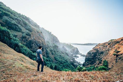 People, Man, Mountain, Adventure, Outdoor, Ocean, Sea