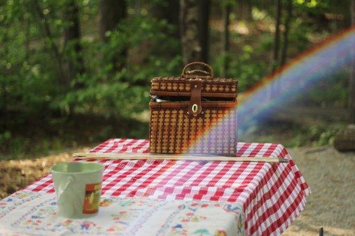 Table, Cloth, Basket, Picnic, Garden, Rainbow, Outdoor